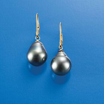 11-12mm Black Cultured Tahitian Pearl Earrings in 14kt Yellow Gold, , default