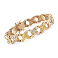 "C. 1990 Vintage .50 ct. t.w. Diamond X Bracelet in 14kt Yellow Gold. 7"", , default"