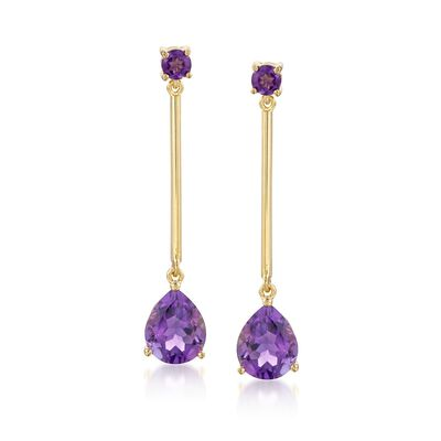 4.80 ct. t.w. Amethyst Drop Earrings in 14kt Gold Over Sterling, , default