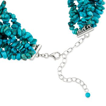 """Turquoise Torsade Necklace in Sterling Silver. 17"""", , default"""