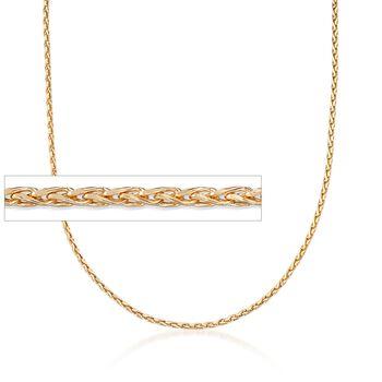 "Italian 2mm 18kt Yellow Gold Diamond-Cut Wheat Chain Necklace. 18"", , default"