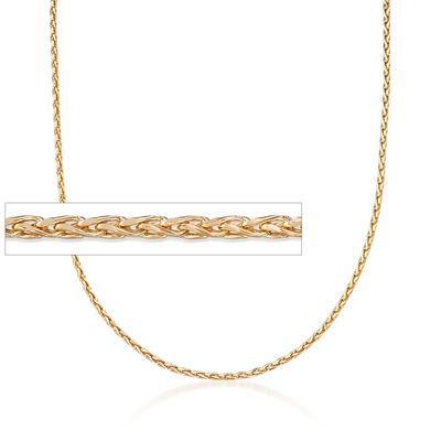 Italian 2mm 18kt Yellow Gold Diamond-Cut Wheat Chain Necklace, , default
