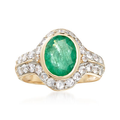 2.50 Carat Emerald and 1.30 ct. t.w. White Sapphire Ring in 14kt Yellow Gold, , default