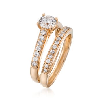 1.17 ct. t.w. Diamond Bridal Set: Engagement and Wedding Rings in 14kt Yellow Gold. Size 7, , default
