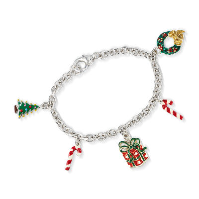 Italian Multicolored Enamel Christmas Charm Bracelet in Sterling Silver, , default