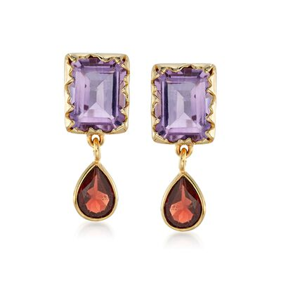 6.00 ct. t.w. Amethyst and 3.00 ct. t.w. Garnet Earrings in 18kt Gold Over Sterling
