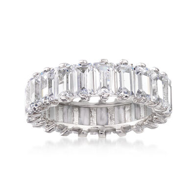 6.00 ct. t.w. Baguette CZ Eternity Band in Sterling Silver