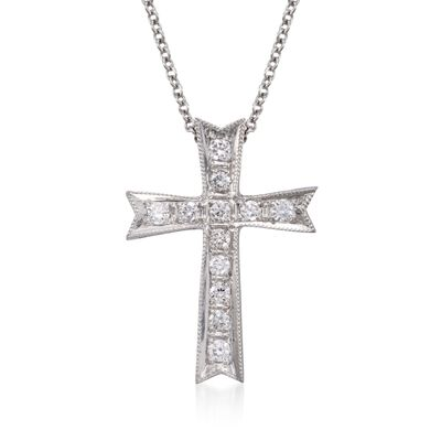 Simon G. .21 ct. t.w. Diamond Cross Pendant Necklace in 18kt White Gold, , default