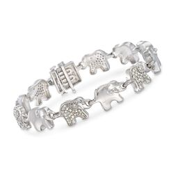 "1.00 ct. t.w. Diamond Elephant Link Bracelet in Sterling Silver. 7"", , default"