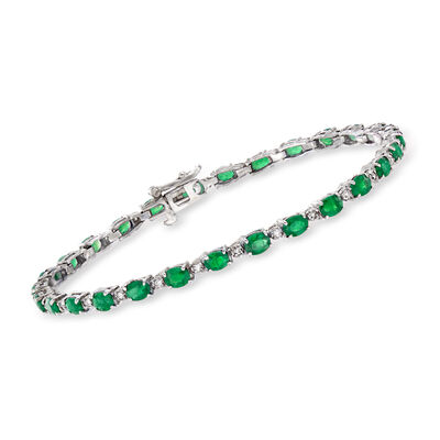 3.60 ct. t.w. Emerald and .20 ct. t.w. Diamond Tennis Bracelet in 14kt White Gold, , default