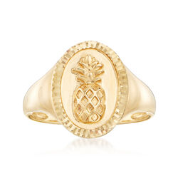14kt Yellow Gold Pineapple Signet Ring, , default
