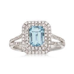 1.00 Carat Aquamarine and .41 ct. t.w. Diamond Ring in 14kt White Gold, , default