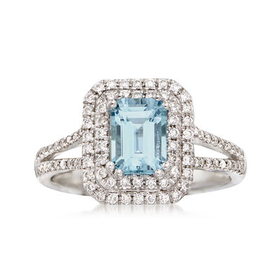 1.00 Carat Aquamarine and .41 ct. t.w. Diamond Ring in 14kt White Gold, , default