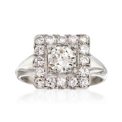 C. 1980 Vintage 1.60 ct. t.w. Diamond Square-Top Ring in Platinum, , default