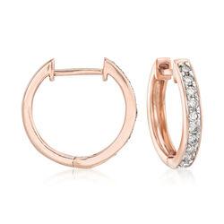.25 ct. t.w. Diamond Huggie Hoop Earrings in 14kt Rose Gold, , default
