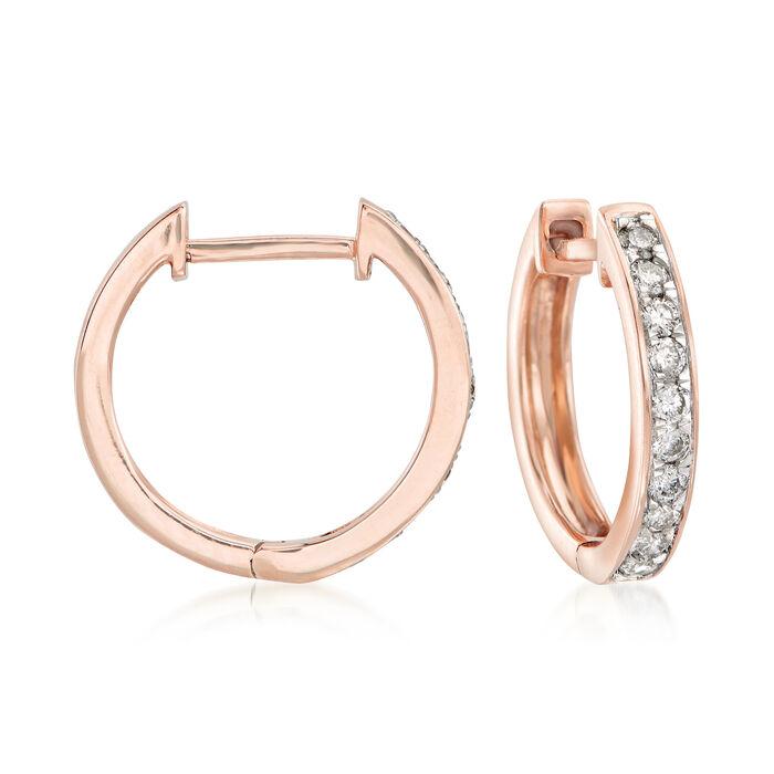 """.25 ct. t.w. Diamond Huggie Hoop Earrings in 14kt Rose Gold. 1/2"""", , default"""