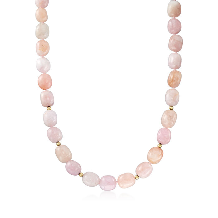 500.60 ct. t.w. Morganite Beaded Necklace in 14kt Yellow Gold