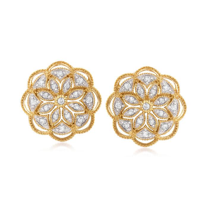 .50 ct. t.w. Diamond Openwork Flower Earrings in 18kt Gold Over Sterling
