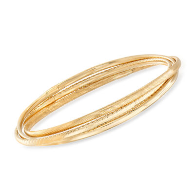 Italian 14kt Yellow Gold Interlocking Triple-Bangle Bracelet
