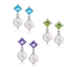 3.70 ct. t.w. Multi-Stone and 8-8.5mm Cultured Pearl Jewelry Set: Three Pairs of Earrings in Sterling Silver, , default