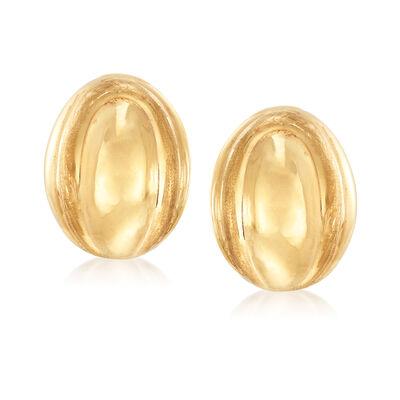 Italian 18kt Yellow Gold Oval Clip-On Earrings, , default