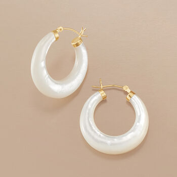 Mother-Of-Pearl Hoop Earrings in 14kt Yellow Gold. 1 1/8""