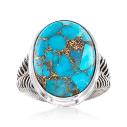 Oval Turquoise Ring in Sterling Silver Wirework, , default