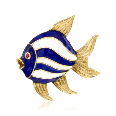 C. 1970 Vintage Multicolored Enamel Fish Pin in 18kt Yellow Gold