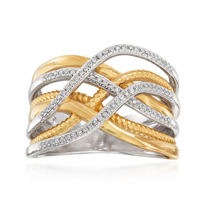 .15 ct. t.w. Diamond Highway Ring in 18kt Gold Over Sterling and Sterling Silver, , default