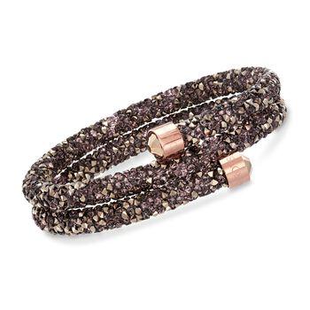 "Swarovski Crystal ""Crystaldust"" Multicolored Crystal Coil Bracelet in Rose Gold Plate. 7"", , default"