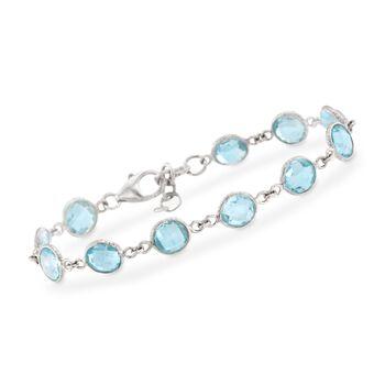 """20.00 ct. t.w. Blue Topaz Bracelet in Sterling Silver. 7.5"""", , default"""