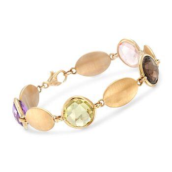 Italian 13.50 ct. t.w. Oval Multi-Stone Bracelet in 14kt Yellow Gold, , default