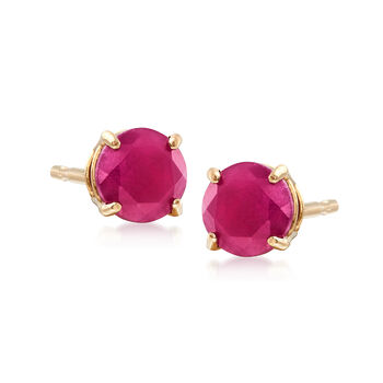 .60 ct. t.w. Round Ruby Earrings in 14kt Yellow Gold, , default
