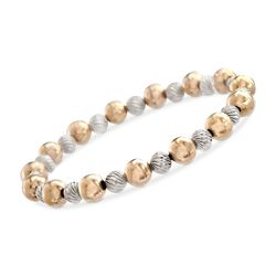 "6-8mm 14kt Yellow Gold and Sterling Silver Fluted and Polished Bead Stretch Bracelet. 8"", , default"