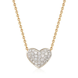 C. 1990 Vintage .55 ct. t.w. Pave Diamond Heart Necklace in 18kt Yellow Gold, , default