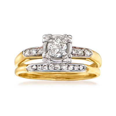 C. 1950 Vintage .45 ct. t.w. Diamond Bridal Set: Engagement and Wedding Rings in 14kt Yellow Gold
