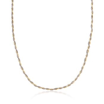 """Italian Sterling Silver and 18kt Yellow Gold Over Sterling Silver Twisted Necklace. 18"""", , default"""
