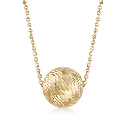 Italian 18kt Yellow Gold Diamond-Cut Bead Necklace, , default