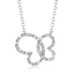 .25 ct. t.w. Diamond Butterfly Necklace in 14kt White Gold, , default
