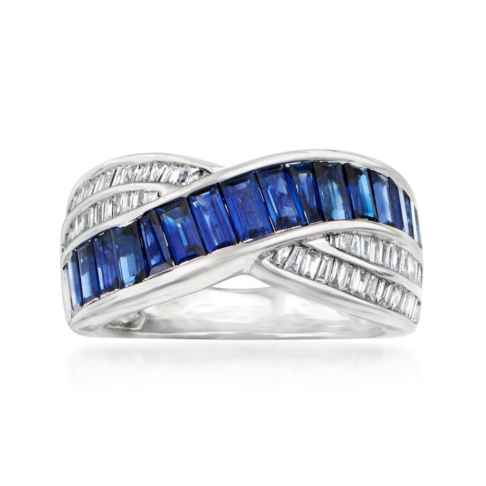 C. 1990 Vintage 1.86 ct. t.w. Sapphire and .28 ct. t.w. Diamond Crossover Ring in 18kt White Gold
