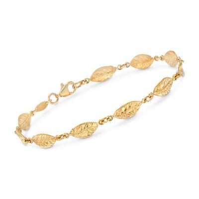 Italian 18kt Yellow Gold Leaf-Link Bracelet, , default