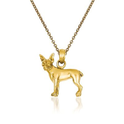 14kt Yellow Gold Chihuahua Dog  Pendant Necklace, , default