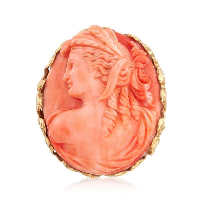 C. 1980 Vintage Carved Pink Coral Cameo Ring in 14kt Yellow Gold. Size 6, , default