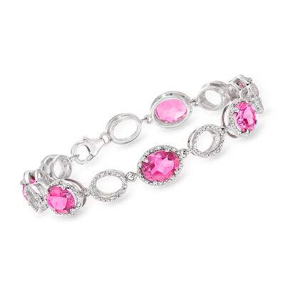 12.00 ct. t.w. Pink Topaz and .38 ct. t.w. Diamond Link Bracelet in Sterling Silver