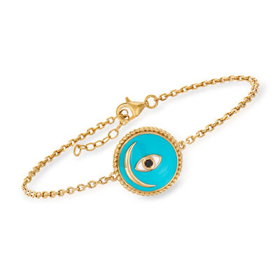 Black and Blue Enamel Evil Eye and Moon Bracelet in 18kt Gold Over Sterling