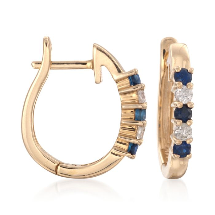 .20 ct. t.w. Sapphire and .10 ct. t.w. Diamond Hoop Earrings in 14kt Yellow Gold