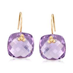 18.00 ct. t.w. Amethyst Drop Earrings in 14kt Yellow Gold, , default