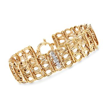 "14kt Yellow Gold Three-Row Link Bracelet With .13 ct. t.w. Diamond Bars . 8"", , default"