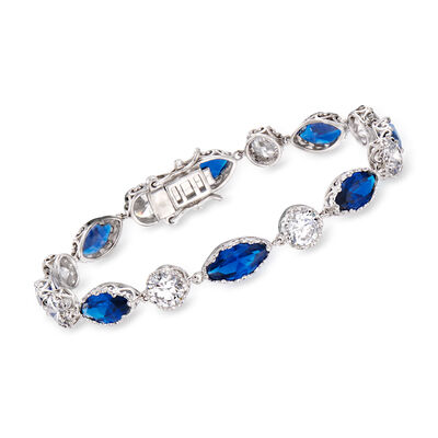 8.00 ct. t.w. Simulated Sapphire and 5.00 ct. t.w. CZ Bracelet in Sterling Silver, , default