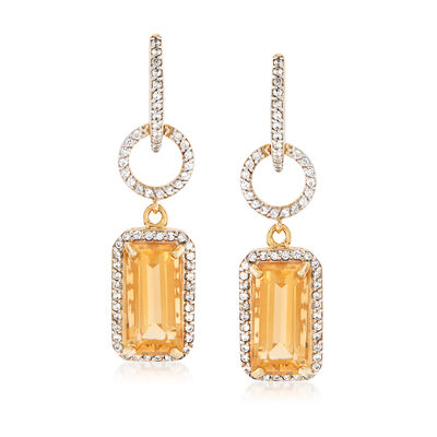 8.00 ct. t.w. Citrine and 1.20 ct. t.w. White Zircon Drop Earrings in 18kt Gold Over Sterling, , default
